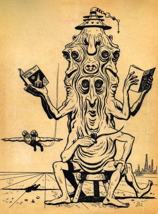 Ed Emshwiller. Cover for Harlan Ellison's Science Fantasy Bulletin. 1953.