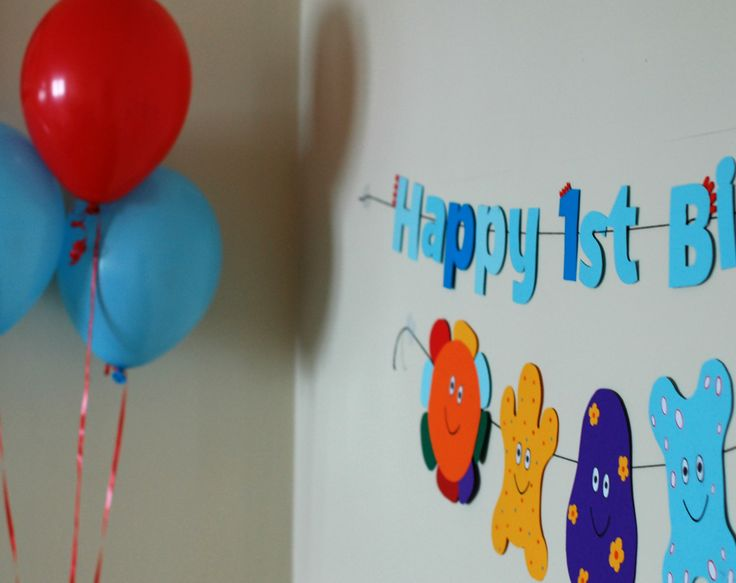 Haahoo Birthday Banners with Iggle Piggle coloured balloons.