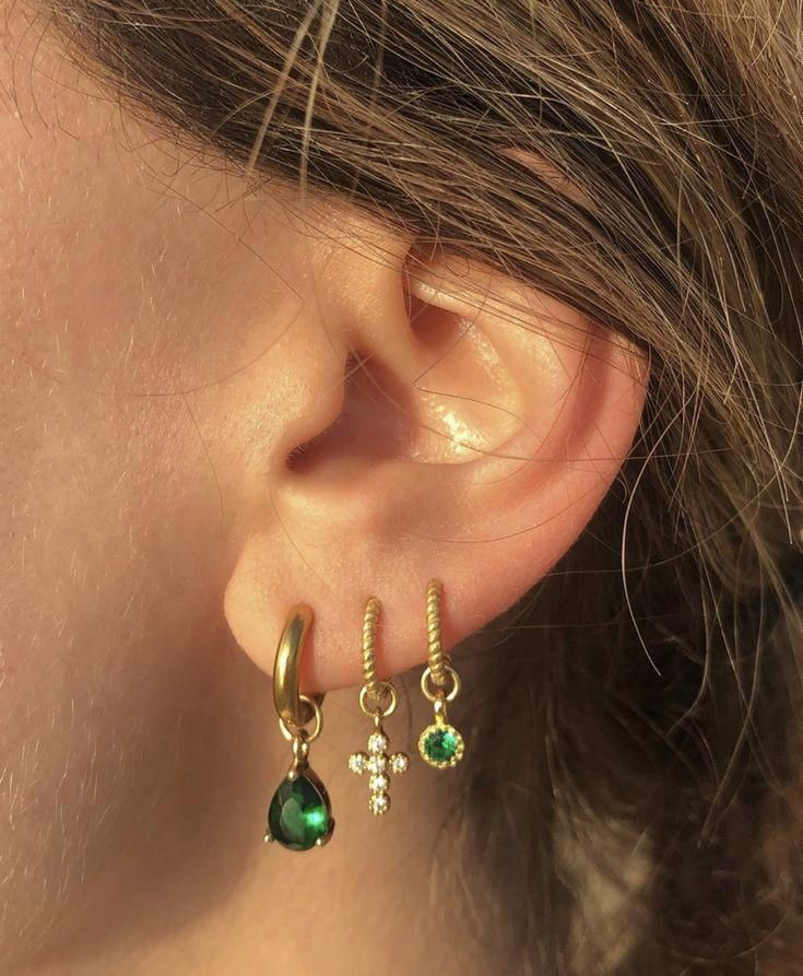 Simulated Emerald Heart Huggie Hoop Earrings 14K Yellow Gold Over Sterling Silver