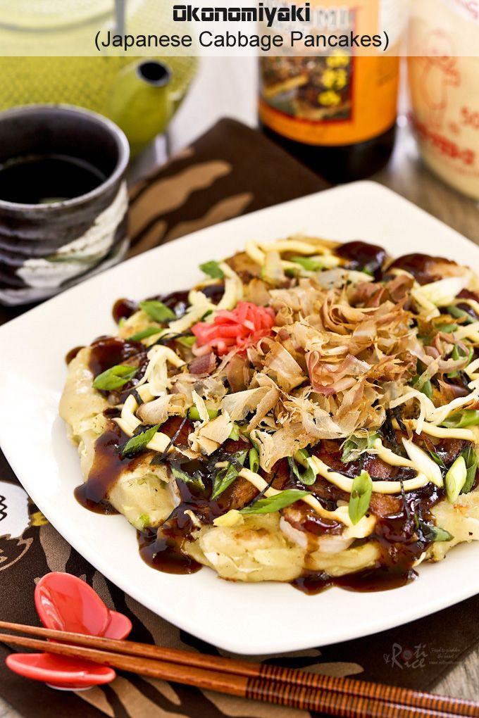 Okonomiyaki, savory Japanese Cabbage Pancakes topped with shrimps, bacon, and a variety of sprinkles. Delicious slathered with mayonnaise and okonomiyaki sauce.   RotiNRice.com