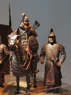 Mongol Empire. Warriors learned to sleep in the saddle as his horse continued on a forced march.