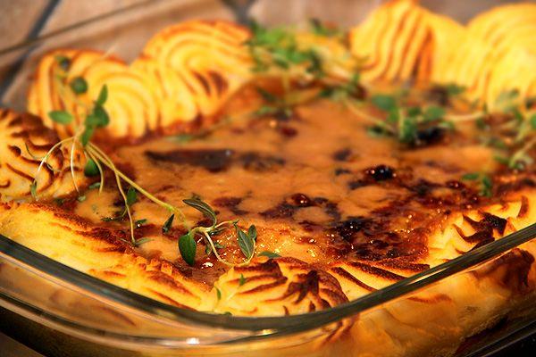 Renskavsgratäng med gratinerat potatismos