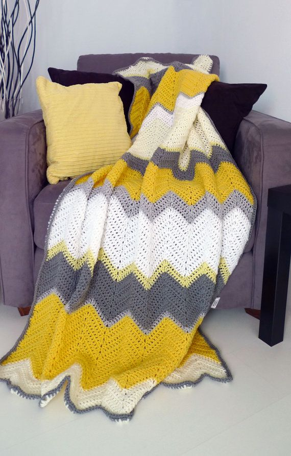 Description  ---------------    A new handmade crocheted blanket in bright yellow and beautiful grey. This lightweight afghan throw keeps you