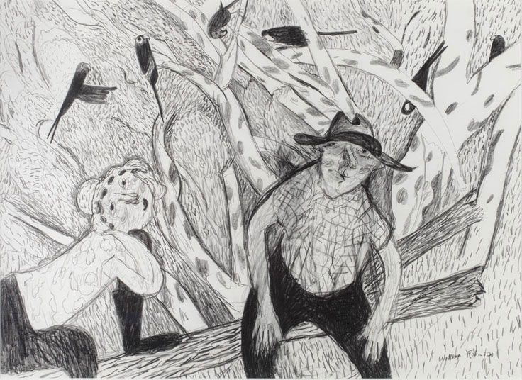William Robinson 'William and Shirley with crimson rosellas' 1984. Pencil on paper | QUT Art Collection, Brisbane