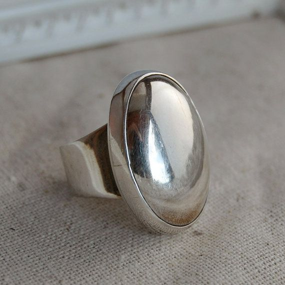 Chunky Sterling Silver Oval Dome Vintage Ring
