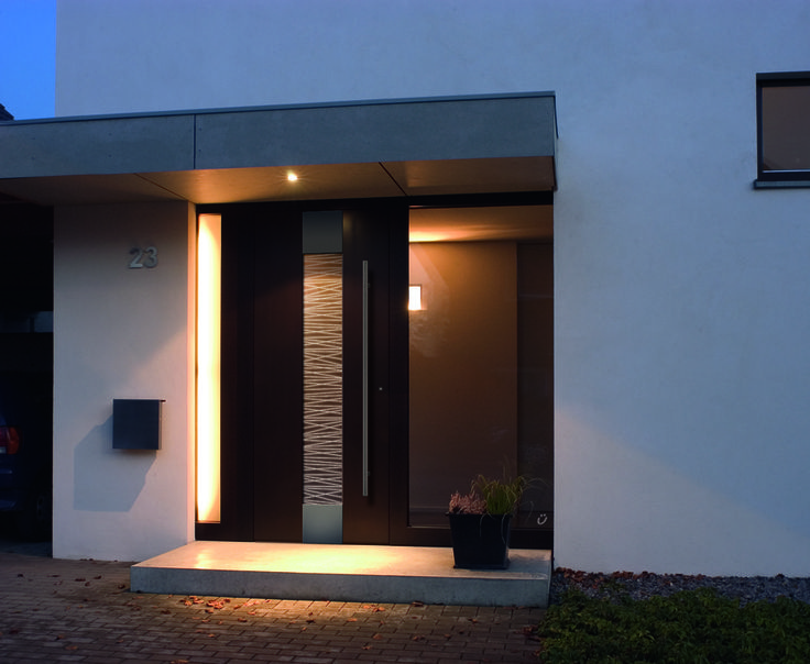 A true designer door with LED strips embedded into the glass.
