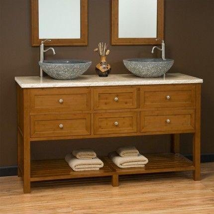60 Taren Bamboo Double Vessel Sink Vanity With Travertine Top Bathroom Project Pinterest