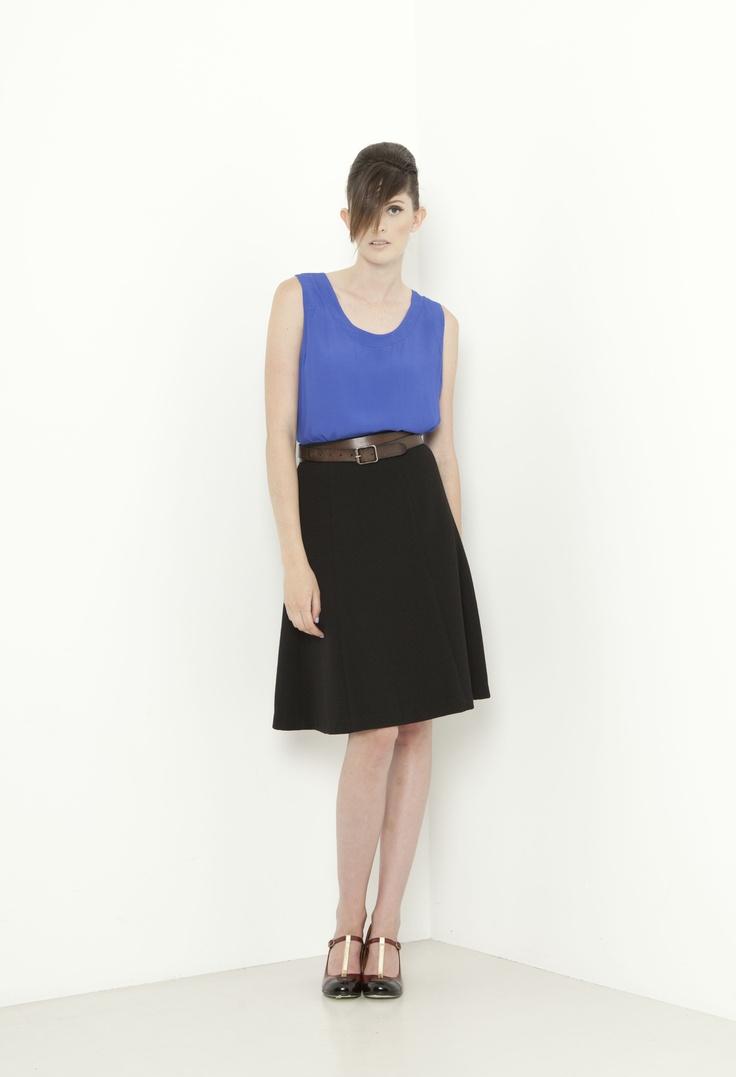 Edgeware Singlet - cornflower  Estate Skirt - black