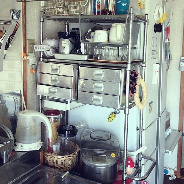 キッチン 炊飯器 メタルラック 引き出しのインテリア実例 2013 08 27 10 41 54 Roomclip ルームクリップ インテリア 収納 インテリア キッチン