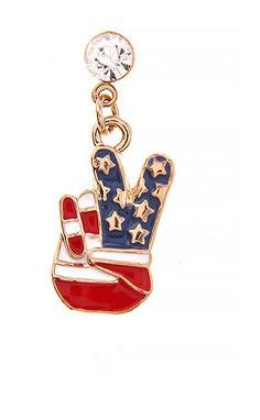Peace sign fingers red, white and blue flag earrings and pin set