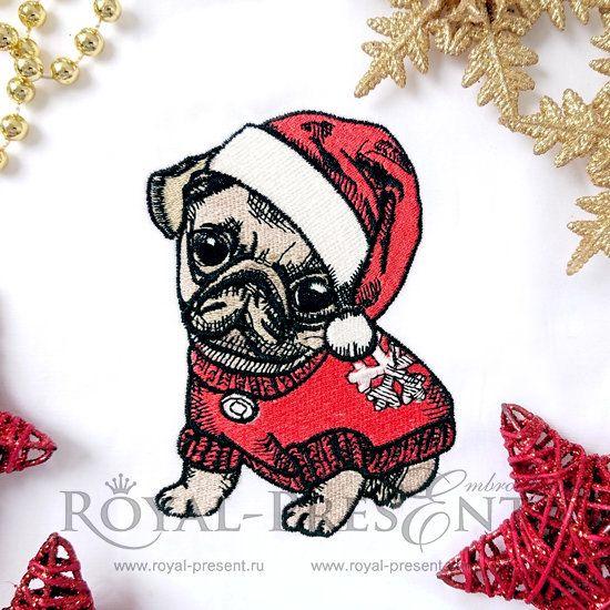 Дизайн машинной вышивки Новогодний щенок Мопса - 4 размера