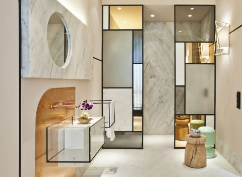 Boca do Lobo - bathroom: A fascinating and memorable creation by Pepe Leal, gathering more than twenty of the most distinguished Luxury Furniture Portuguese Brands in Madrid. Spanish Interior Designer Pepe Leal carefully selected Portuguese historic and significan...