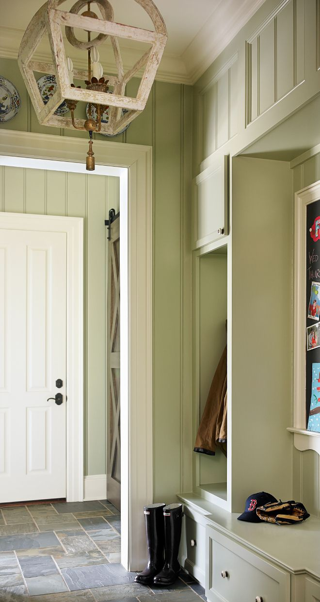 "Benjamin Moore OC-47 Ashwood Gray. This is one of my favorites mudrooms! I love the durable slate floor tiles and the cabinets. Cabinet paint color is ""Benjamin Moore OC-47 Ashwood Gray"". Wall paint color is Mizzle by Farrow and Ball"