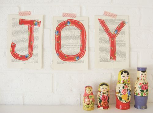 JOY: Dottie Angel, Fabric Letters, Joy, Paper, Book Pages, Holidays, Crafting, Things, Christmas Ideas