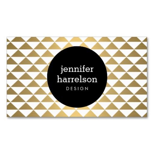 Gold Prism Designer Business Card Template - personalize the front and back with your own info. Stylish and unique for creative professionals such as interior designers, decorators, stylists, bloggers and more.