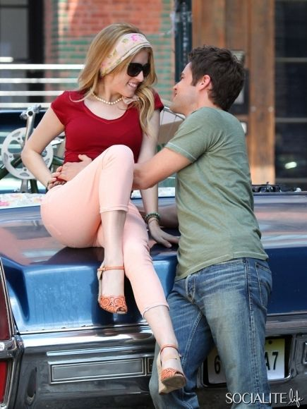June 20th 2013: Anna Kendrick gets close with co-star Jeremy Jordan as they film scenes for the new movie 'The Last 5 Years' in New York City.