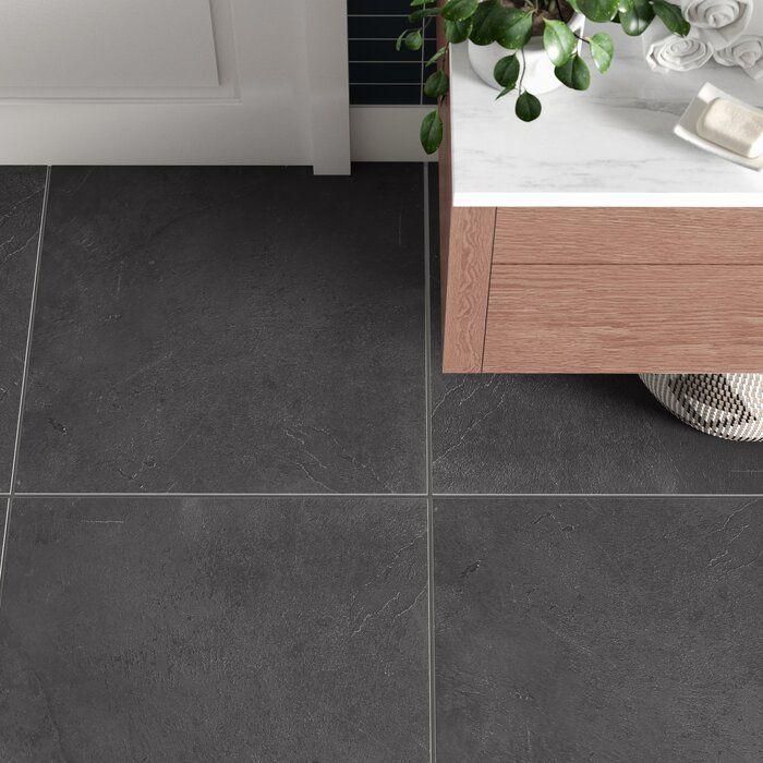 Figueroa 24 X 24 Slate Stone Look Wall Floor Tile Tile Floor Grey Bathroom Floor Black Floor Tiles