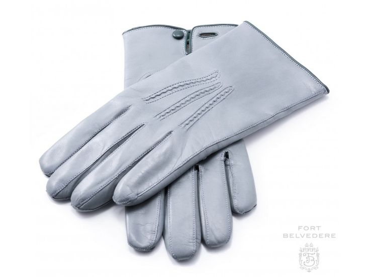 Light Grey Men's Gloves with Button in Lamb Nappa Leather, sizw 7.5 or 8