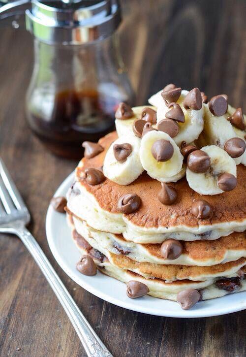 banana chocolate chip pancakes   yummm   Pinterest   Banana Chocolate ...