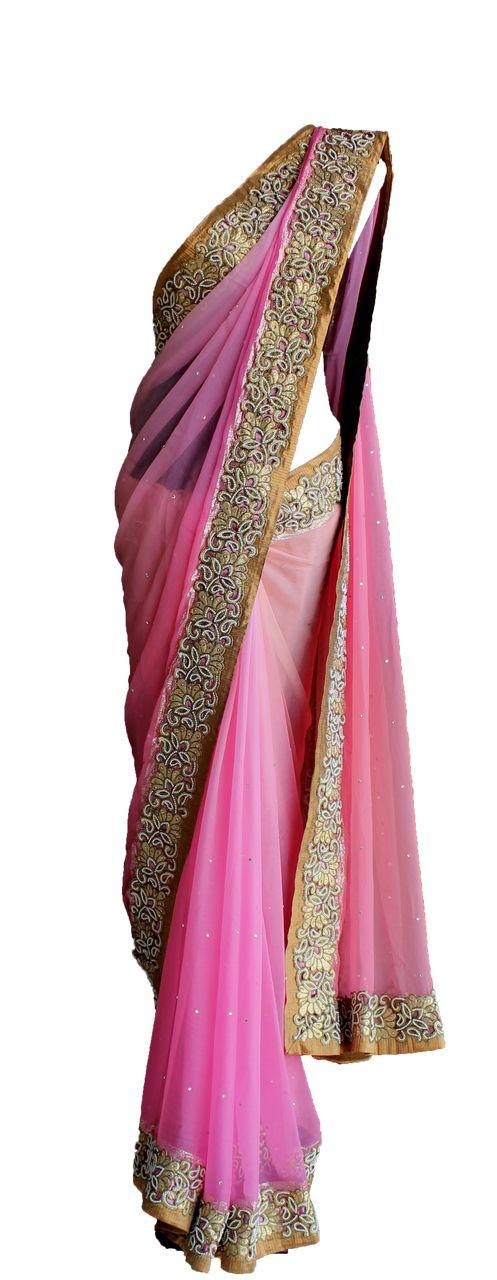 Pret'i by Priti Sahni   Pink Chiffon Saree   SCARLETBINDI.COM
