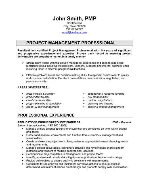 click here to download this project engineer resume