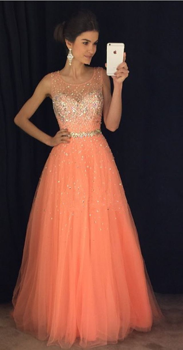 New Arrival Prom Dress,Modest Prom Dress,coral prom dresses,cap sleeves prom gowns,long evening dress,beaded prom dresses 2017