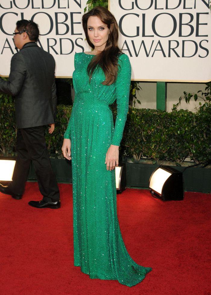 Angelina Jolie in green dress - Golden Globe Awards