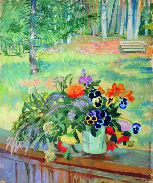 Кустодиев Б. М. Букет цветов на балконе