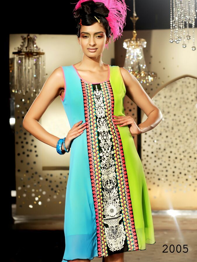 Sleeveless Long Neon Colour Cotton Kurti