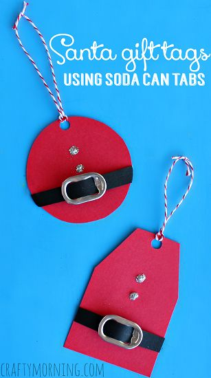DIY Santa Gift Tags Using Soda Can Tabs - Easy Christmas craft for kids to make too! | CraftyMorning.com