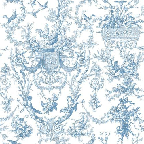 inspired by color blue and white old world toile wallpaper