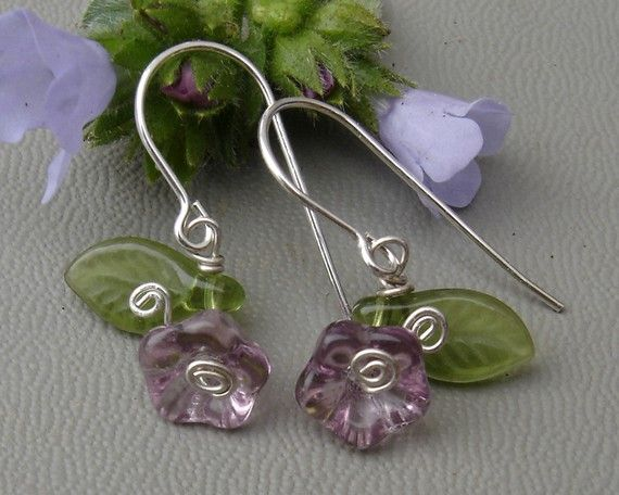 Little Purple Glass Flower and Leaves by nicholasandfelice on Etsy, $ 12.50