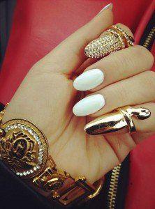 gold jewelry w/ white oval nails. Like ir