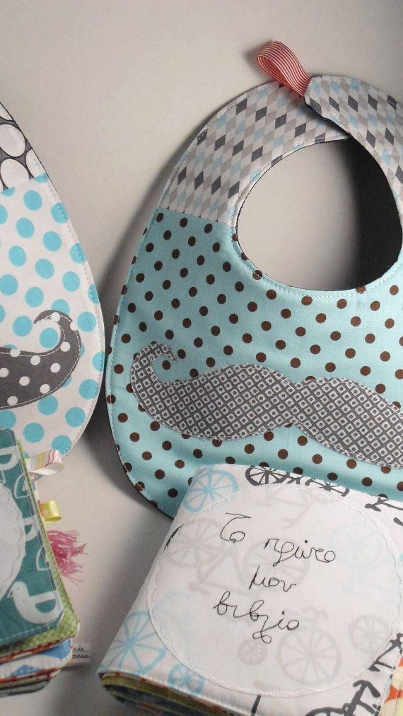 Baby set-quilted Mr. Mustache bib & baby fabric/quiet book by Eleni