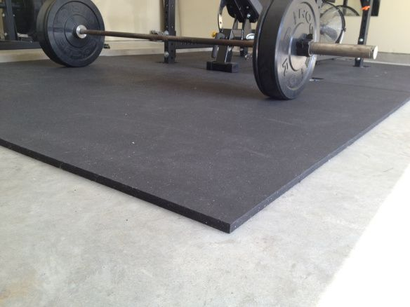 Save LOTS of money on gym flooring with horse stall mats, bought online or at any feed store!  Half the price of interlocking rubber tiles and just as effective.