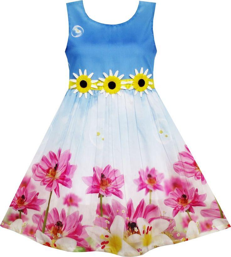 Girls Dress Sunflower Bubble Lily Flower Garden Print Blue Size 4-12 Years