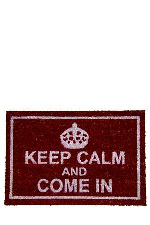 "Keep calm and welcome your people into your home with this novelty dyed and printed coir doormat. With a non-skid PVC backing, this mat is ideal for the front door and measures 40x60cm.<BR><BR><b class=""descTitle"">Dimensions:</b><BR>L60xW40 cm"