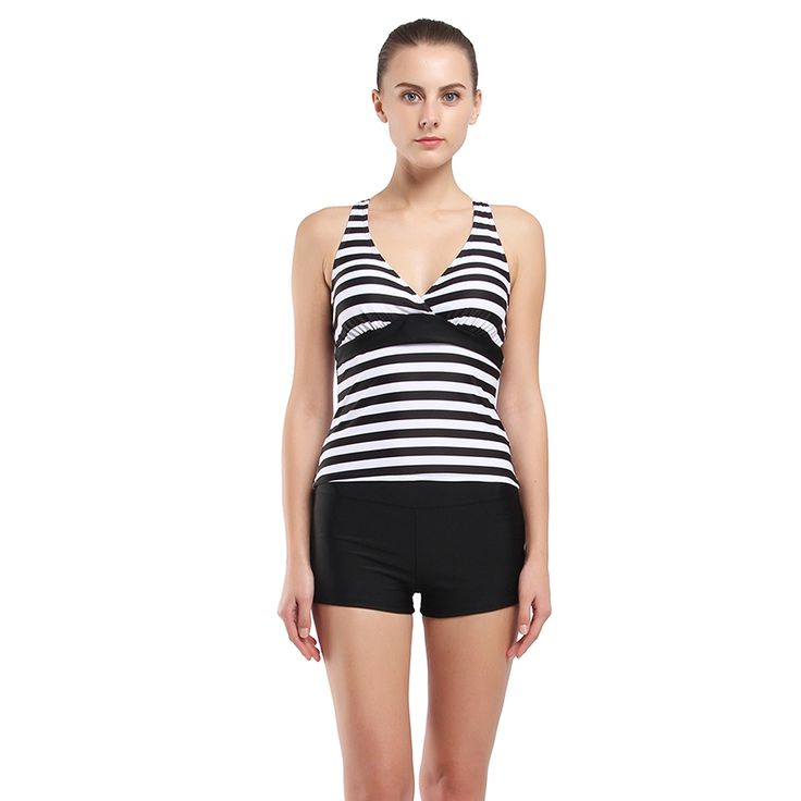 129.90$  Watch here - http://alisti.worldwells.pw/go.php?t=32788376509 - Racer Back Tankini Set Black Striped Swimwear Box Briefs Double Up Tankinis for Women Sports vest Beach Wear Female Bathing Suit 129.90$