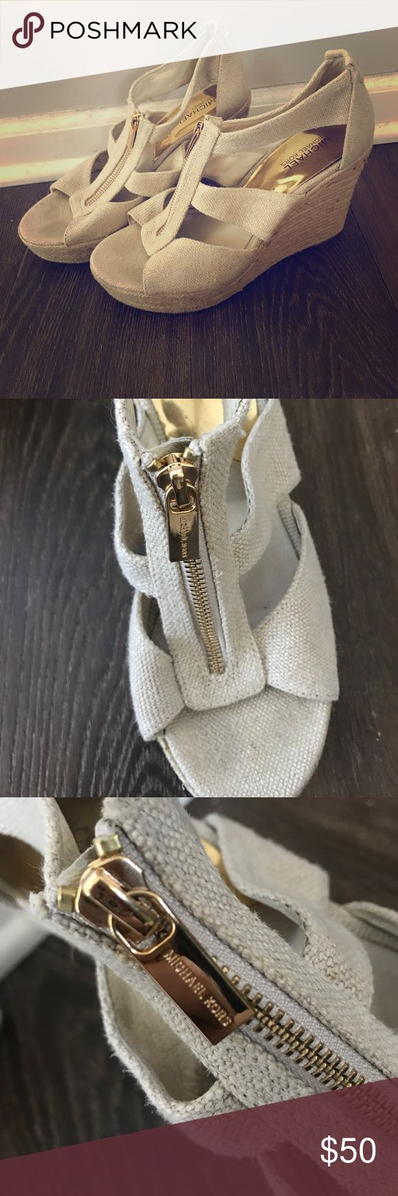 Michael Kors Espadrille Zip Up Wedges These beige zip up Espadrilles are the perfect summer shoe. Super comfortable and in great condition. Zipper and hardware are gold with Michael Kors logo. Michael Kors Shoes Espadrilles