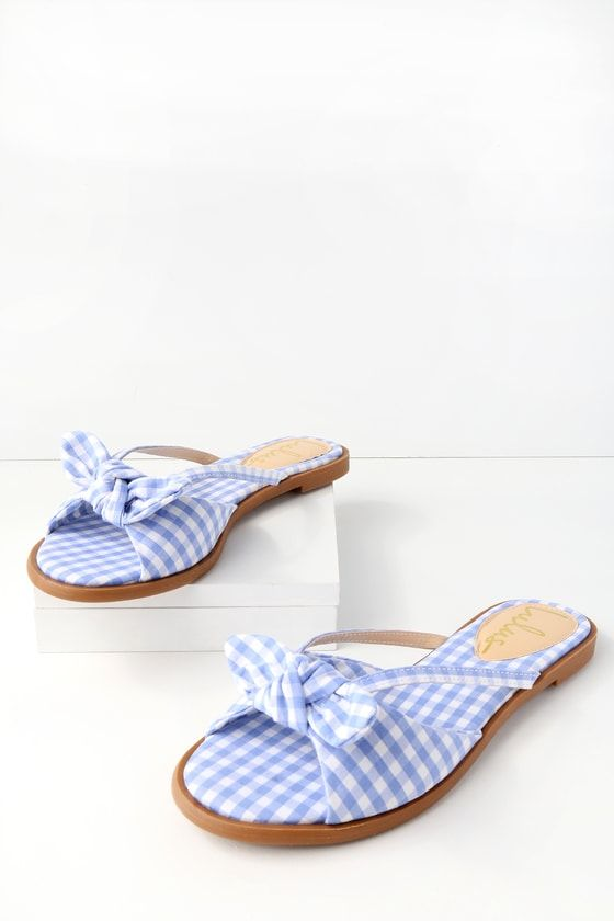 7d8cd5b92d04 With the Delilah Light Blue Gingham Slide Sandals you are garden party  ready! Chic