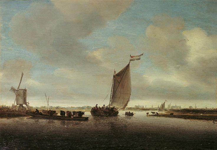 Salomon van Ruysdael, FLUSSLANDSCHAFT MIT FÄHRE UND EINEM MIT VIEH BELADENEM BOOT., 1635, Auktion 889 Alte Kunst, Lot 1151