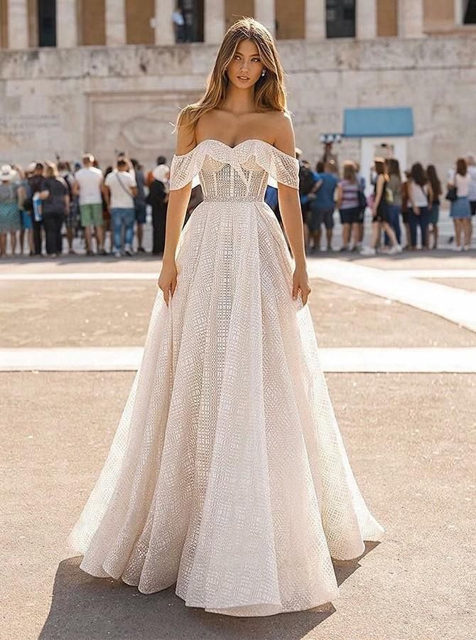 Charming Off Shoulder A-Line Sweep Train Short Sleeves Lace Wedding Dr – MPdre…