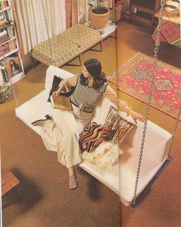 OK, the carpet is horrendous, but the swing is awesome. | 16 Chic 1970s Interiors You Would Want To Live In