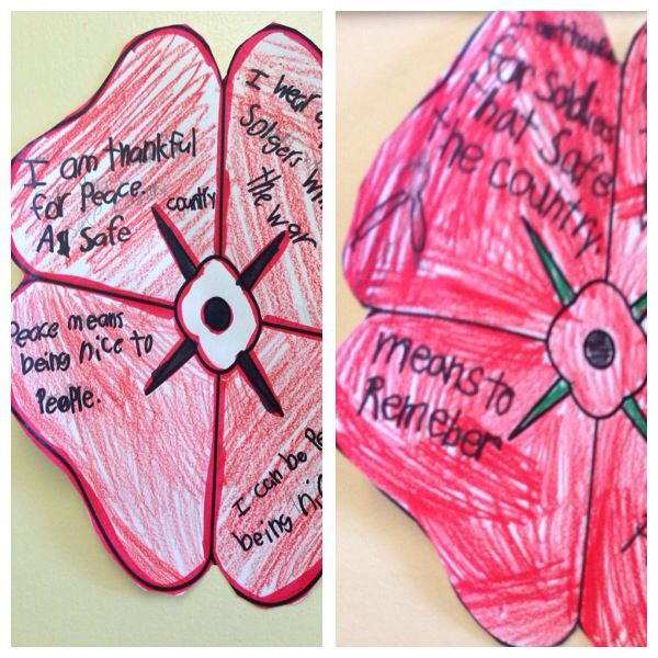 Rememberance day writing. In each petal students wrote a reason they wear a poppy, what it means to remember, what peace means ect.