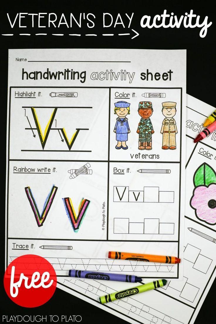 Veteran S Day Activity Sheets Playdough To Plato Veterans Day Activities Handwriting Activities Veterans Day [ 1104 x 736 Pixel ]