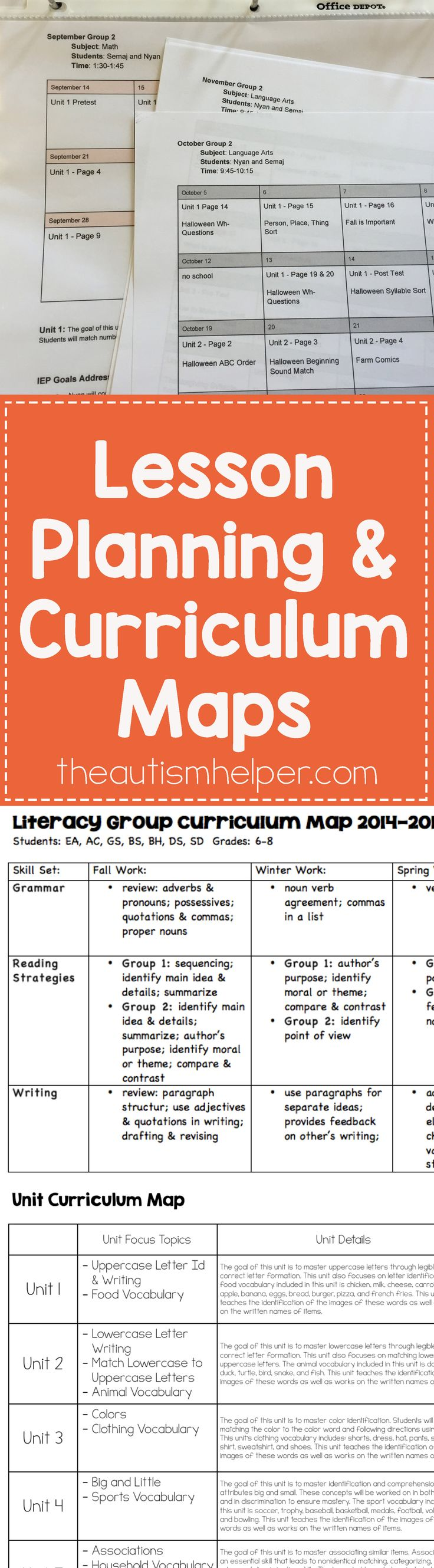 Paperwork will always be a part of our lives, but when it comes Make your paperwork work for you by getting creative with your lesson planning & curriculum maps! From theautismhelper.com
