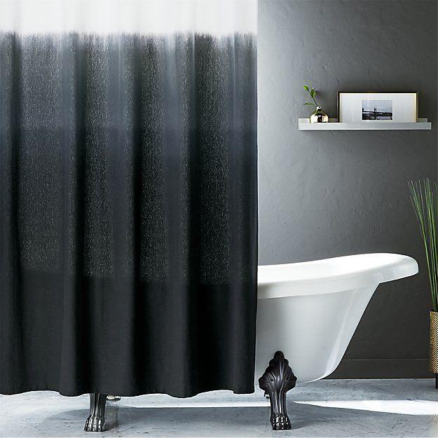 CB2 Ombre Black Shower Curtain
