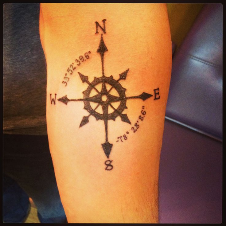 My first ink.  compass tattoo.  coordinates tattoo. longitude and latitude tattoo.