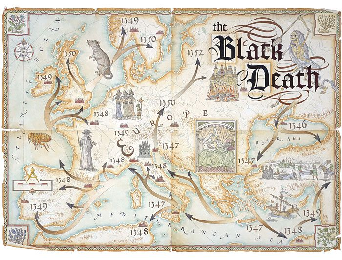Dave Stevenson - illustrator - map of black death, tracing the black plague across europe
