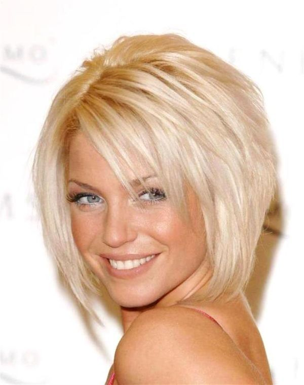 Love this. Modern, aline bob. Age-appropriate for anyone. The layers will help to mask thin hair and the blonde makes gray coverage/blending easier.